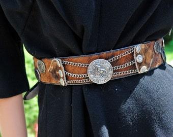 Vintage Fur Coin Belt