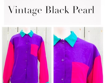 Retro Pink and Purple Color Blocking Blouse