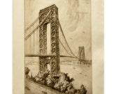 Vintage New York Artwork - Nat Lowell Etching George Washington Bridge - 1930s Etching of New York City - AAA - New York Office, Home Decor