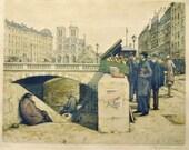 Vintage Print - Booksellers in Paris - T.F. Simon - Ponte St. Michel 1927 - Paris Artwork, Color Print - Art for Office - Vintage Fine Art