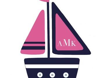 GIRLS NAUTICAL DECOR, Pink Navy nursery, Anchor Whale, Girl's Nautical Bathroom, Sailboat Wall Art, Whale bedding, Ocean Bathroom decor