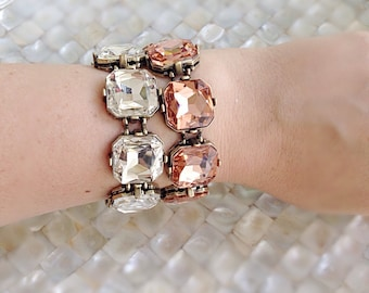 Crystal Square Statement Bracelet Rose Gold Crystal Clear Emerald Green