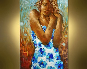 Original Oil Girl in Blue flowers dress painting on canvas ready to hang from Nizamas
