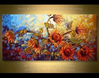 "Sunflower Oil Painting  - Flower Art 48"" Dancing in the Sun oil palette knife heavy texture flowers wall decor modern design home decor"