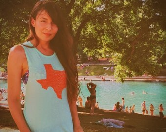 Texas rivers tank top mint green and burnt orange