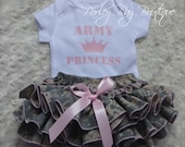 Parley Ray Army Princess Bodysuit & US Army ACU Digital Camouflage Ruffled Baby Bloomers