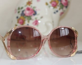 Vintage Chunky Translucent Plastic Sunglasses - Unworn Sixties Square Huge -kitsch - Pink Gold Metal -Brown