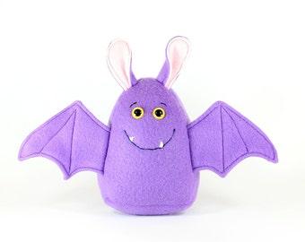 Bat Plush Toy, Halloween soft toys, Children's Plushie, Soft Fleece Pillow, Nursery Decor - READY TO SHIP