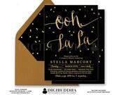 BLACK & GOLD LINGERIE Shower Invitation Ooh La La! Elegant Personal Gold Glitter Confetti Calligraphy Free Shipping or DiY Printable- Stella
