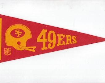 Vintage Pennant San Francisco 49ers Football Team 1970s Era NFL Small Mini Felt Pennant Banner Flag vtg Collectible Vintage Display Sports