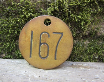 Number Tag Brass Metal Number 167 Aged Patina Vintage Cattle Tag #167 Industrial Tag Address House Apartment Number Large 2 Inch  Keychain