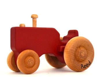 Red Wood Toy Tractor - Personalized Wooden Toy - Push Toy - Toddler Toy