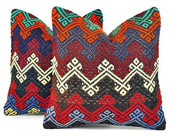 Set of 2 Kilim pillow covers, skp9-07, Kilim Pillow, Turkish Pillow, Kilim Cushions, Kilim, Moroccan Pillow, Bohemian Pillow, Turkish Kilim