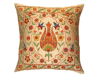 Hand Embroidered Uzbek Suzani Pillow Cover msp7-42