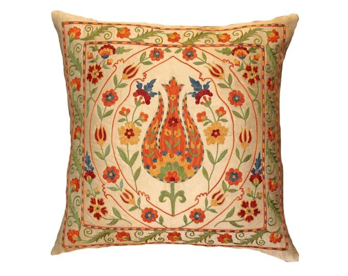 Handmade Suzani Silk Pillow Cover EMP114, Suzani Pillow, Uzbek Suzani, Suzani Throw, Suzani, Decorative pillows, Accent pillows