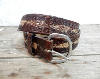 Vintage Leather Belt, aged vintage brown boho 31 to 34 inch long belt, western belt, 2 tone, fswp