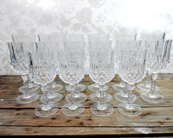 Vintage Crystal Wine Glass lot, 16 pieces, cut crystal, wedding toasting glasses, stemware, barware, birthday party, brunch