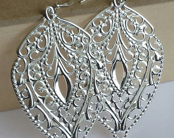 SALE - Bright Silver- Faux patina, leaf  filigree earrings