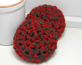 Crochet Scrubby - Christmas Dish Scrubbies - Reusable Scrubbies - Red & Green Scouring Pads - Set of 2