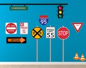 Road Signs Wall Sticker Decal, Reusable Fabric Decal, Boys Decals, Nontoxic Ecofriendly PVC Free Decal