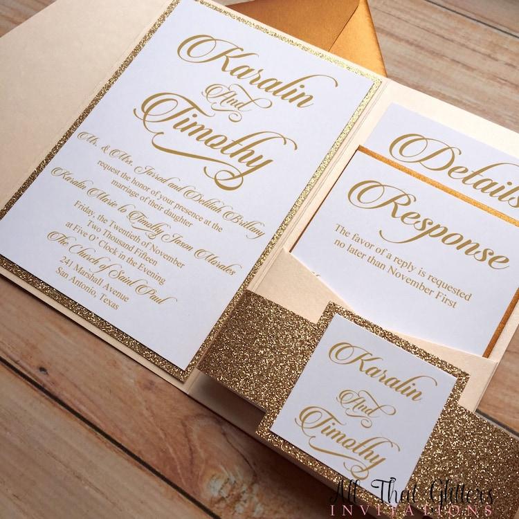 Diy rose gold glitter wedding invitations gold by for Inexpensive glitter wedding invitations
