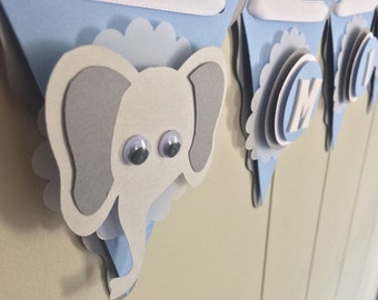 Elephant Baby Shower Decoration. Elephant Baby Banner. Blue and Gray. Made to Order