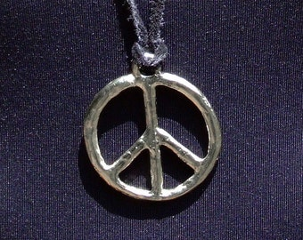 Leather necklace with metal peace sign pendant charm