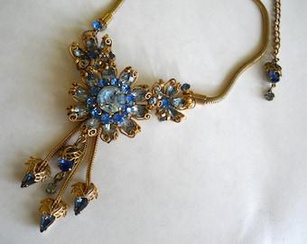 Rhinestone Bib Style Necklace Gorgeous Shades of Blue Vintage