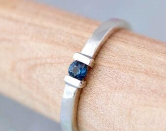 Sapphire Ring, Sterling Silver Ring, Gemstone Jewelry, Blue Gemstone, September Birthstone Ring, Sapphire Stacker Ring, Birthstone Jewelry