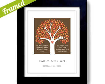 Fall Wedding Tree Print Personalized Wedding Gift Autumn Gift Wedding Gift for Couple Framed Gift White Doves Colorful Leaves
