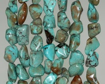 9x8-14x11mm Turquoise Gemstone Blue Brown Nugget Pebble Chips Loose Beads 16 inch Full Strand (90186237-823)