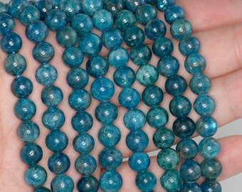 8mm Apatite Gemstone Grade A Round 8mm Loose Beads 7.5 inch Half Strand (90184251-853)
