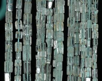 4x3-6x3mm Aquamarine Gemstone Grade AB Blue Rectangle Tube Loose Beads 15 inch Full Strand (90185130-891)