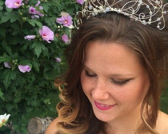 bridal tiara made with swarovski crystals and silver wire