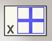 Maritime Flag Wall Art, Letter X, Naval Flags, Naval Signal, Nautical Art, Nautical Sign, Navy Sign, Maritime Codes, Maritime Flag, Monogram
