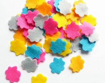Felt flower, 50 pieces, Size 2cm, Die Cut Shapes, Applique, Confetti, Party Supply, DIY Wedding