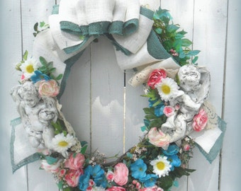 Cherub, angel, grapevine wreath, floral with burlap bow, Daisies and turquoise, Door hanger