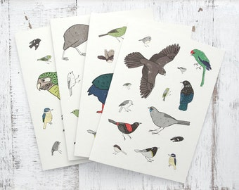 New Zealand Birds Colourful Greeting Card 4 Pack