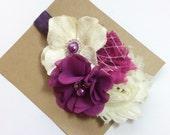 Plum ivory Girl headbands chiffon baby girls headband rolled rosette ruffle elastic rolled rosette whimsical flower infant newborn