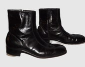 Mens Black Leather Beatles Style Boots Florsheim Imperial Quality Size 11 B Stacked Heel Side Zip She Love You Yeah Yeah