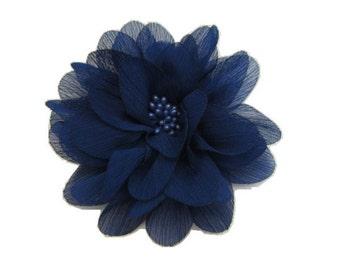 Dark Royal Blue Chiffon Flower with stamen Center -- 1 pc. ISLA Collection.
