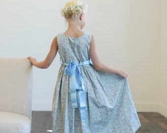 Blue floral print flower girl dress