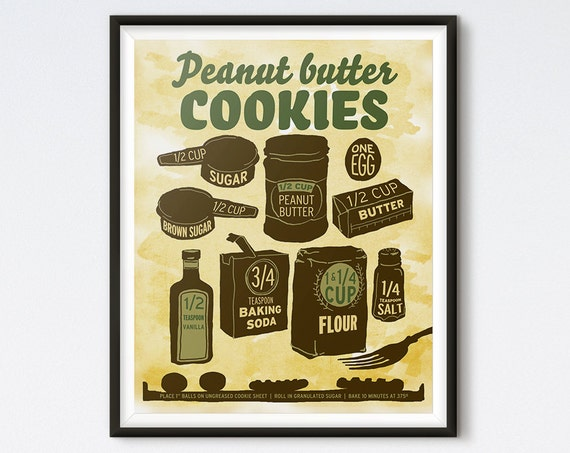 Illustrated Recipe - Peanut Butter Cookies - Kitchen Art - Kitchen Print - Cookie Print - Retro Art - Recipe Art - Food Art - Recipe Print