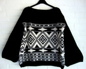 Knitted Sweater Ethnic Pattern Ikat  Kilim Geometric Nomad Urban Black and White Creme Off White  Kelim