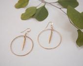 14k Gold Filled Spike in Antique Finish Hoop Earrings