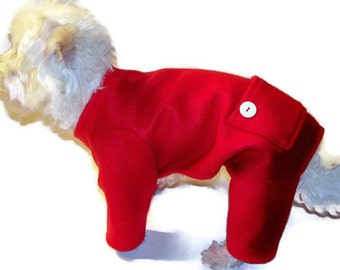 Red Fleece Longjohns Dog Pajamas-Red Fleece Dog Pajamas-Christmas Pajamas for Dogs-Dog Onesie-Pajamas for Dogs-Onesies for Dogs