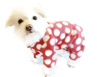 Red Polka Dot Fleece Dog Pajamas-Polka Dot Dog Pajamas-Dog Clothes-Dog Clothing-Dog Onesie-Pajamas for Dogs-Clothes for Dogs-Dog Pjs