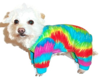 Tie Dye Fleece Dog Pajamas-Fleece Dog Pajamas-Dog Clothes-Dog Clothing - Dog Onesie - Pajamas for Dogs - Clothes for Dogs - Dog - Dogs