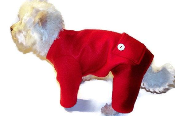 Dog Pajamas - Dog Clothes - Red Fleece Longjohns Dog Pajamas - Dog Clothing - Dog Onesie - Pajamas for Dogs - Clothes for Dogs - Dog - Dogs