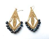 Gold Evil Eye Earrings Statement Filigree Earrings Gold Plated Earrings Genuine Freshwater Pearl Arabesque Oriental Filigree Earrings